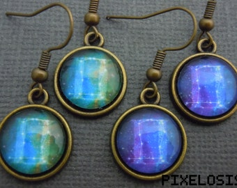 Gemini Zodiac Earrings, Gemini Constellation Earrings, Zodiac Symbol, Astrology Jewelry, May June Birthday Gift, Star Sign, Zodiac Jewelry