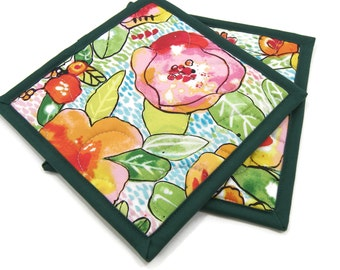 Floral Hot Pads, Quilted Pot Holders - Colorful Flowers with Green Leaves on White Kitchen Potholders Set of Two 8 Inch Square