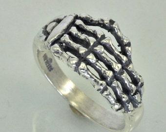 Large Silver Skeleton Hand Ring