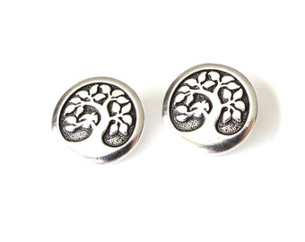 2x TierraCast bird in a tree buttons antique silver finish, pewter button with shank, beading supplies, sewing buttons UK