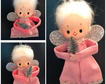 3 Vintage Pink and Silver Angel Ornaments
