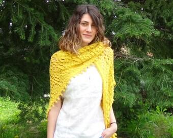 CROCHET PATTERN - Shawl Pdf tutorial - yellow summer wrap - easy crochet pattern- pdf crochet patter- one size throw- Rhombuse pattern shawl