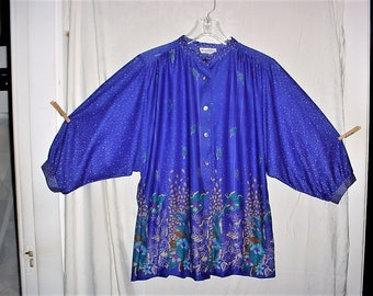 Vintage 80s Blue Flower Print Button Up Blouse 36 Dolman Sleeve Poly Top
