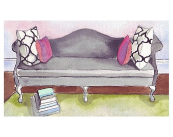 Living Room Watercolor Painting - Black Sofa Art with PIllows and Books - Watercolor Art Print, 8x10