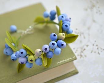 Blueberry bracelet, Berry fimo jewelry, Berries accessories, Clay berry, Rustic bracelet, Wedding jewelry