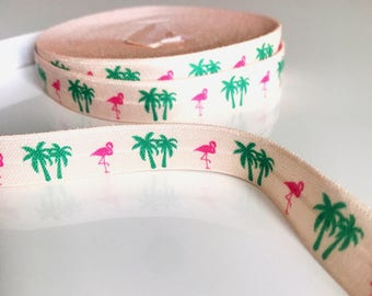 Elastic Ribbon by the meter, pattern, Flamingo and Palm tree 1.5 cm wide
