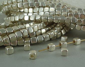 10 Silver Plated Brass Square Cube 5mm Beads Solid Brass Rounded Dice Spacer Beads Metal Chunk Nugget Squared Loose Cubed Beads