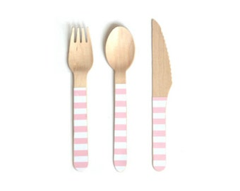 Pink and White Striped Wooden Cutlery -Set of 24 White and Pink Wooden Forks, Spoons or Knives- The perfect touch for any party!