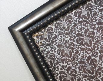 Wall Decor - Magnetic Board - Dry Erase Memo Board - Magnet Board - Framed Bulletin Board - Black Damask Design - magnets included