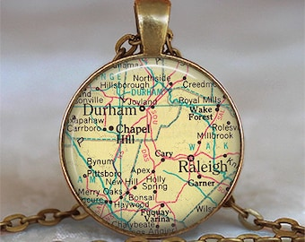 Raleigh, North Carolina map pendant Durham map pendant map jewelry map necklace keychain key chain key ring key fob keyring