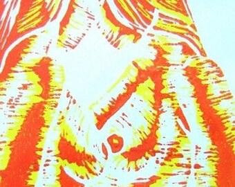 Eclipse - Warm Palette - Linoleum Block Print