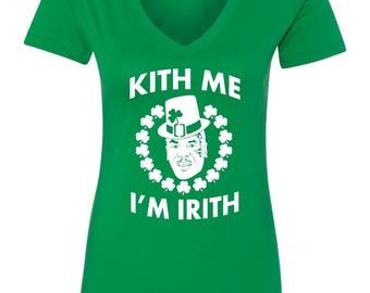 Kith Me I'm Irish Mike Tyson St Patricks Day Irish Women's V-Neck Shirt