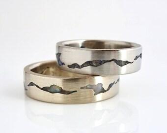 Glacier Mountain Ring Set, 5-6mm Bands, Gemstone Inlay Rings, Matching Wedding Bands, Platinum Rings, Wedding Ring Set