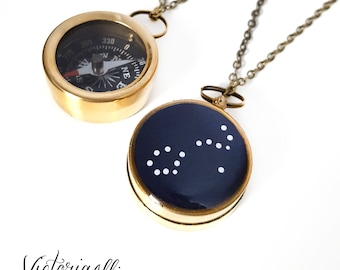 Scorpio Zodiac Constellation Necklace, Small Working Compass, Brass Chain, Pocket Compass, Bridal Party, Octobe November Birthday Gift
