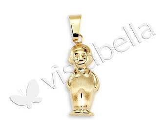 Polished 14k Gold Bonded Little Boy Child Charm Pendant