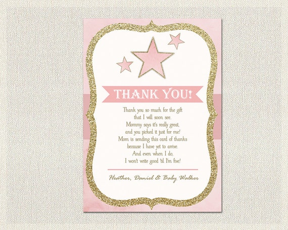 Stars Baby Shower Thank You Card Stars Pink Gold Thank You