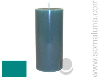 3 x 6.5 Sea Green Classic Hand-poured Unscented Pillar Candles Solid Color