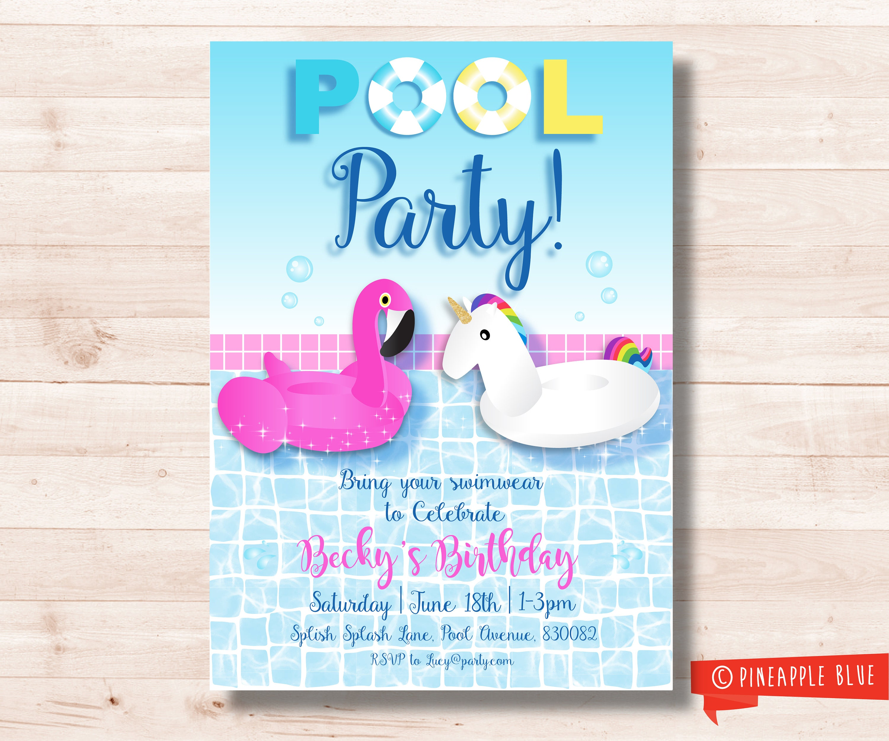 Pool Party Birthday Invitation Water birthday wishes card couture ...