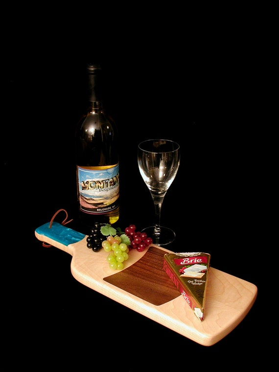 A Fun Custom Unique Handmade Wine Bottle Cheese Cutting Board