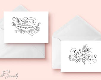 Calligraphy Flourished Love Cards Perfect for Your Loved Ones