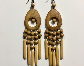 Earrings, wooden ,hand made