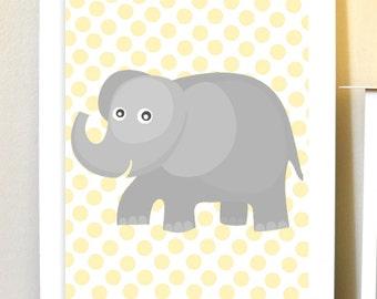 Baby boy nursery art, grey yellow nursery art, elephant nursery, baby girl nursery, polkadot, elephant, custom colors