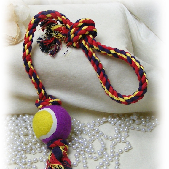 Med - Lrge . .  Dog Tug Toy with Tennis Ball . . DT225