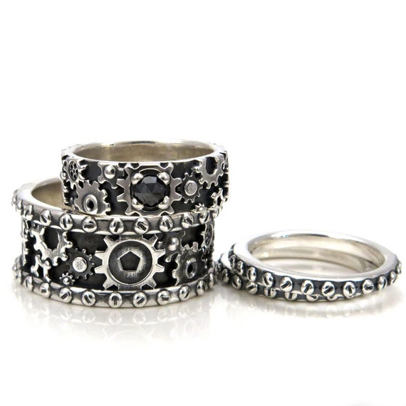His and Hers Steampunk Gear Ring Set - Sterling Silver and Black Diamond