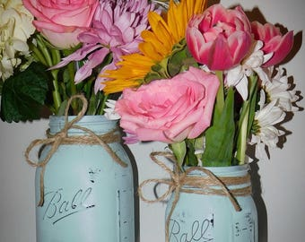 Painted mason jar vases (set of 2); vase set;  mason jars