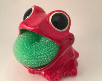 Frog Sponge Holder / Scrubby Holder / Red / Luminaire/Soap Holder / Housewarming gift / Kitchen / Home Decor / Candy Dish / Unique Gift