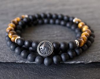 Mens wrap bracelet Triple wrap bracelet Mens beaded bracelet Tiger Eye bracelet Black onyx bracelet Mens gemstone bracelet Lion bracelet men