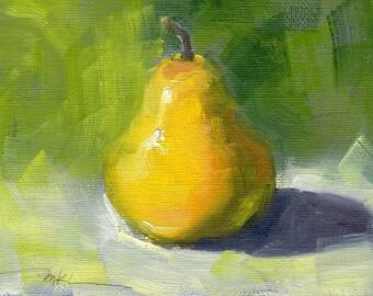 Small Original Oil Painting of a Pear, still life, wall art, food art, impressionism