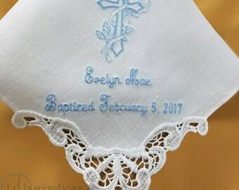 Baptism Gifts for Godchild | Godchild Gift | Baptism Gift for Girl | Personalized Baptism Handkerchief by Li'l Inspirations