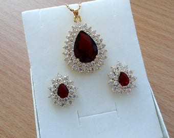 Wedding Jewelry Set Gold Bridal Jewelry Set Gold Jewelry Set Ruby Cubic Zirconia Wedding Set Gold Bridal Jewelry Set Crystal Jewelry Set