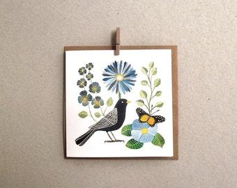 Greeting card set of 4 - Botanical greeting card , bird post card , greeting card print , bird greeting card  4.7 x 4.7 inch
