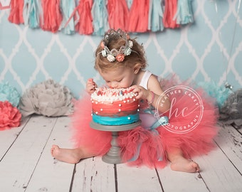 Birthday Outfit | Birthday Outfits | 1st Birthday Outfit | First Birthday Outfit | Cake Smash Outfits | Coral Aquamarine Birthday Tutu Dress