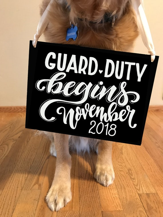 Baby Guard Duty Starting Sign, Expecting Sign, Baby Chalkboard, Baby Announcement, Dog Sign Announcement, Baby Sign, Custom Chalkboard