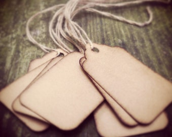 """25 Stained Scalloped Hang Tags, sized 1 3/4"""" x 1 3/32"""", Vintage tags, Antique tags, Primitive tags"""