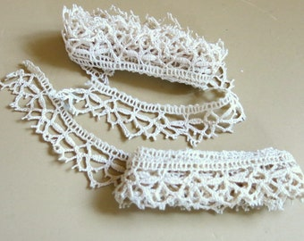 Vintage Lace Ecru Cotton Cluny Lace Scalloped Picot Edging 4 Yards 184A