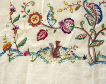 Jacobean Piano Bench Cover; Vintage, Hand Stitched Crewel Woodland Scene