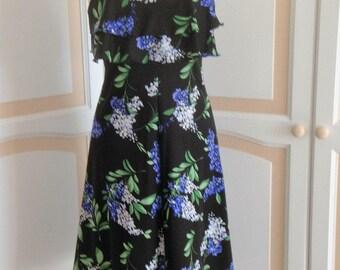Livien's Pretty Black/Flowered Dress size 10 uk