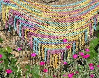 Shawl / scarf/shawl in Rainbow colors crochet cotton