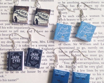 Custom Miniature Book Earrings // Miniature Classic Novels Earrings