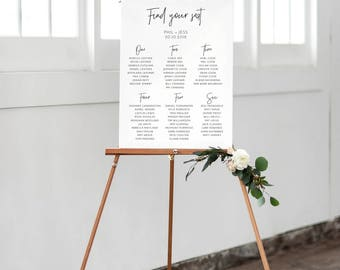 Wedding Seating Chart Simplistic, printable, digital file