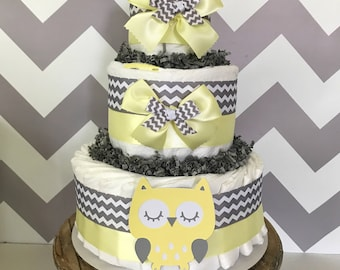 Owl Diaper Cake in Yellow and Gray, Owl Baby Shower Centerpiece, Owl Decorations