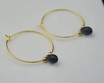 gold sapphire glass hoop earring drop hoops teardrop droplet huggie earrings simple earrings everyday/gift for her