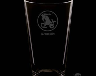 16 Ounce Capricorn Personalized Rim Tempered Pint Glass