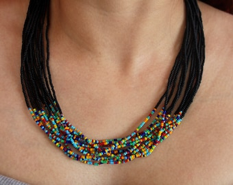 Matte Black with Mixed Accent Multi-Strand Seed Beads Necklace, Handmade in Nepal