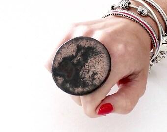 Big Ceramic Ring  - big ring  bold ring, oversize ring, handmade ring, avant garde jewelry, ceramic jewelry,  statement jewelry