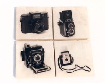 Vintage Camera Coaster Set Edition 2 (Set of 4 Stone Coasters) Old Fashion Camera Art - Retro Home Decor